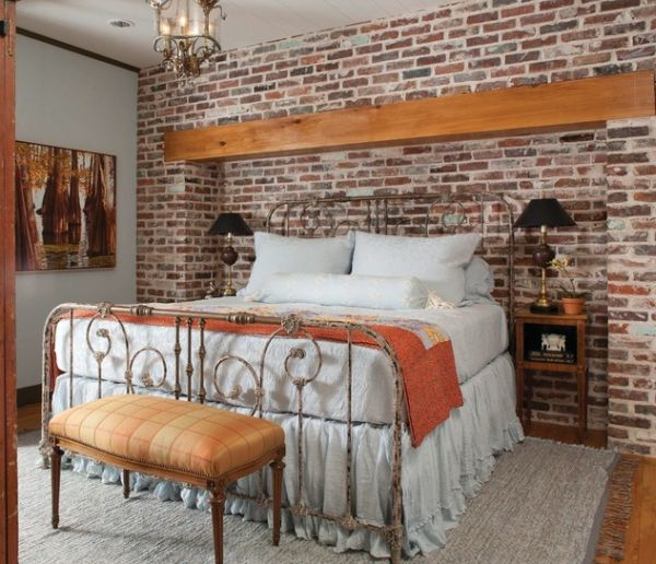 A brick wall always a charming d cor feature in any room for Bedroom w brick wall
