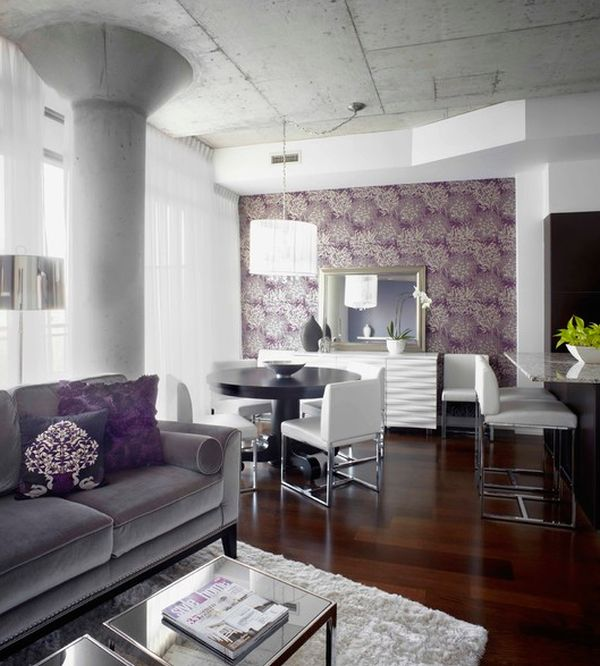 How to use purple in stunning looking living rooms for Purple feature wallpaper living room