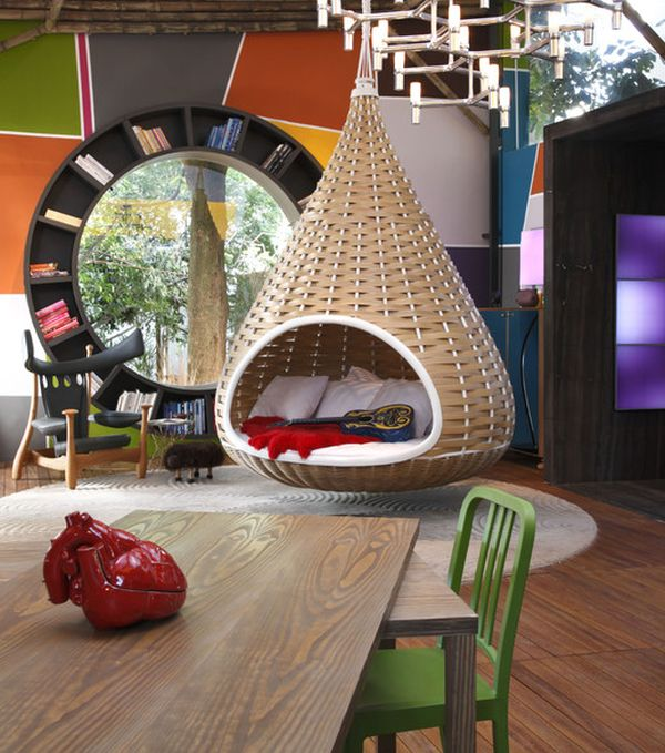 15 playful versatile and comfy hanging chairs for Hanging circle bed