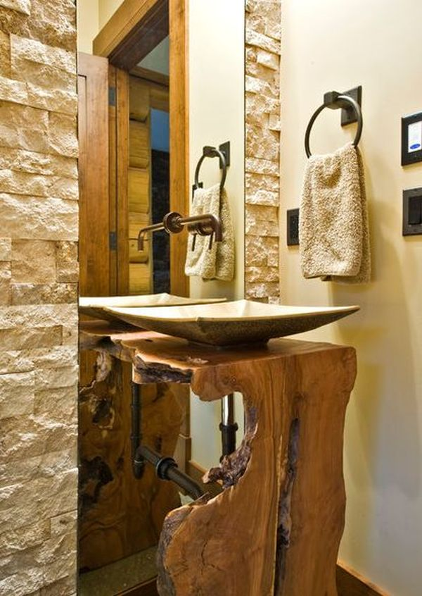 Bathroom Countertops And Sinks >> 15 Stylish Wood Furniture And Features With Natural Edge