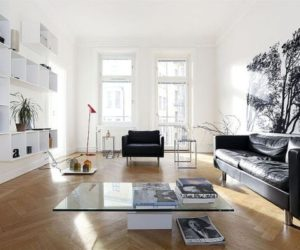 Straight lines, simple accents and a white décor in Sweden