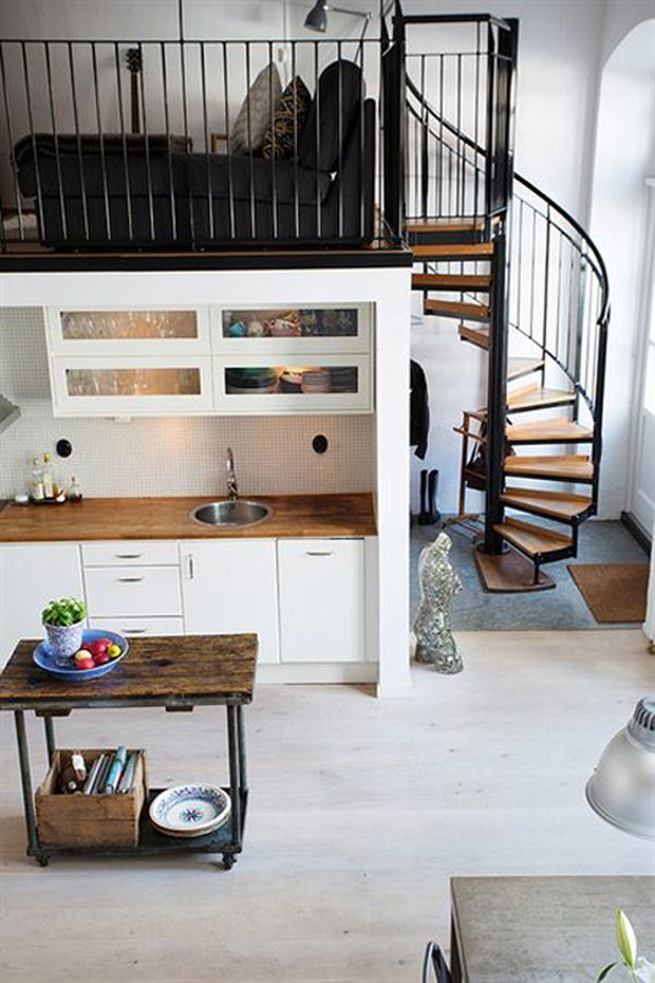 Nordic meets industrial in a small loft for Small loft kitchen designs