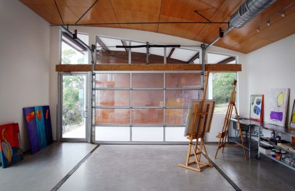 glass garage doors meeting in the corner view in gallery