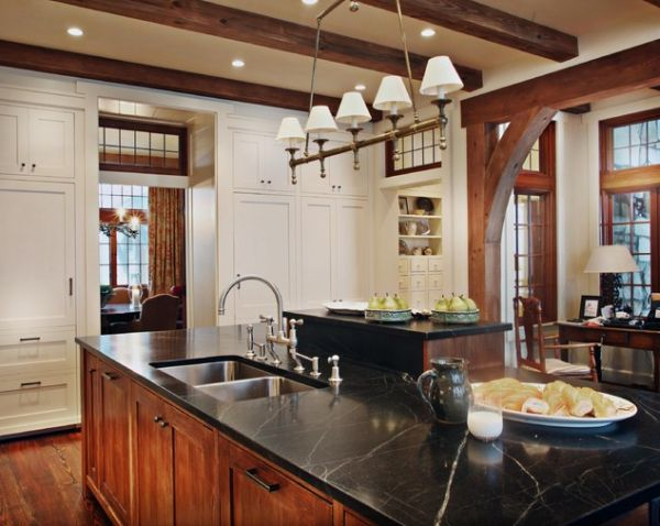Rustic and inviting kitchens featuring exposed ceiling beams for Decorative beams in kitchen