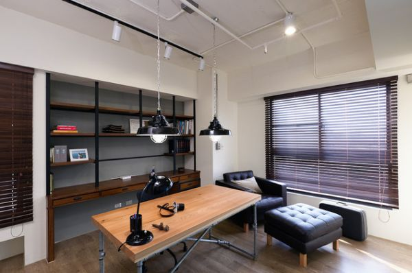 industrial home office designs for a simple and professional look. Black Bedroom Furniture Sets. Home Design Ideas