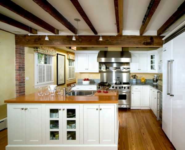 Kitchens Featuring Exposed Ceiling Beams