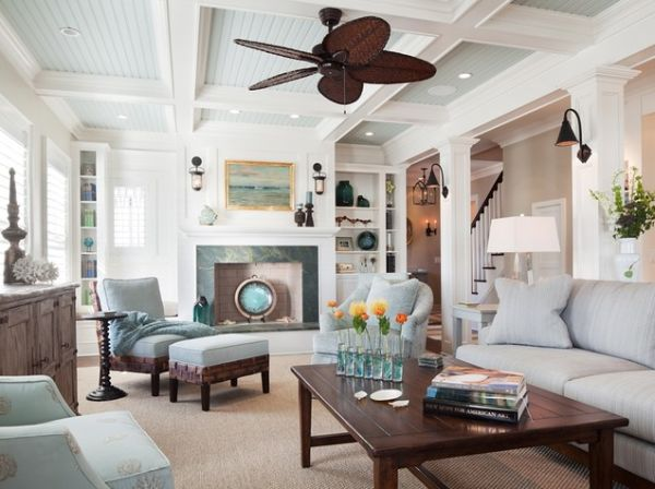 Revisit traditional architecture by opting for coffered ceilings - Great coastal living room decorating ideas ...