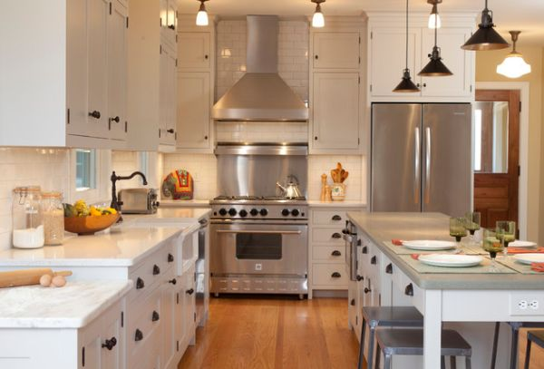 ... View in gallery An eclectic kitchen featuring modern appliances and  industrial-style lighting View in ...