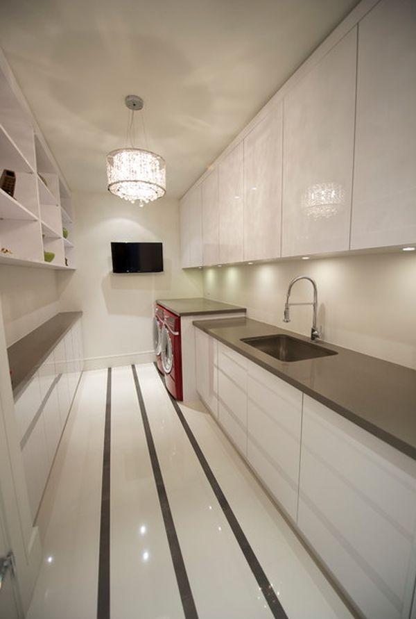 Laundry rooms how to make them stylish - Stylish elegant apartment decor appearing eye catching impression ...