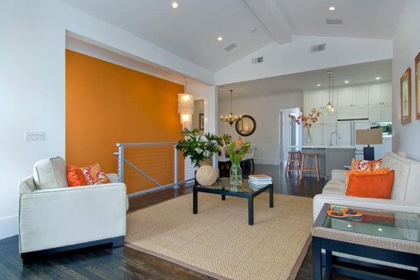 Living Room Accent Walls View In Gallery The Under Interior Design Color How To Use Orange Indoors