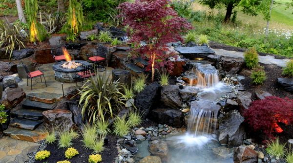view in gallery - Waterfall Landscape Design Ideas