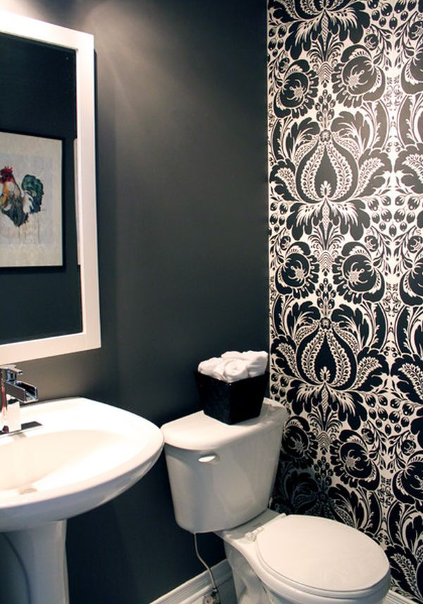 Using black in the bathroom for Dark bathroom wallpaper