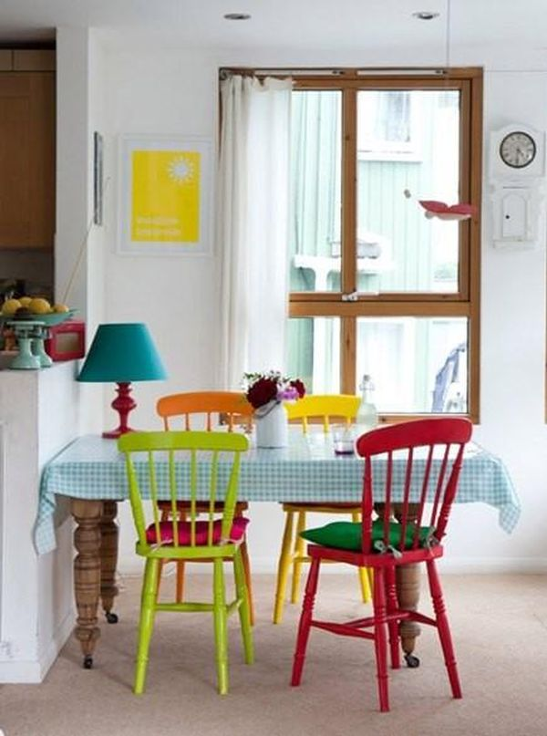 Multi Colored Dining Chairs A Playful Touch For The Decor