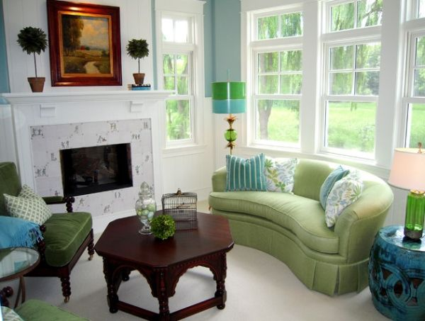 Choose the right sofa color for your living room for Forest green living room furniture
