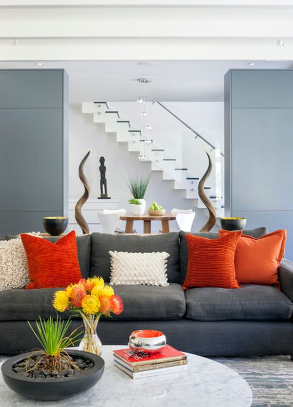 Grey Sofas In Living Room H