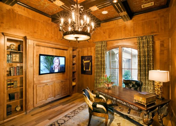 wood interior homes wood paneling adds elegance and warmth to your home office 15468