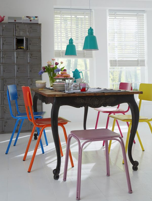 Multi colored dining chairs a playful touch for the d cor for Different color chairs