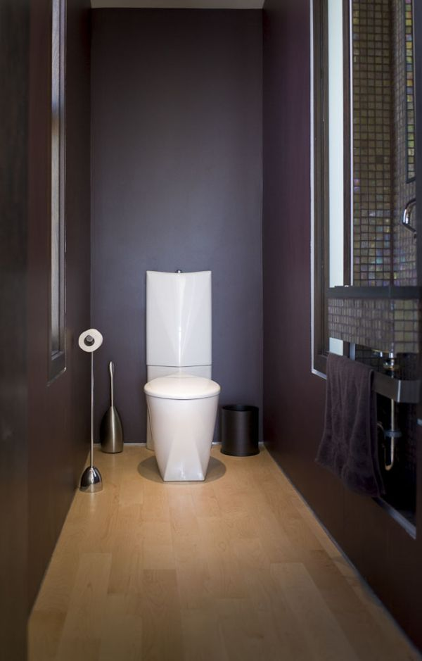 How to make a narrow powder room feel inviting and for Toilet room decor