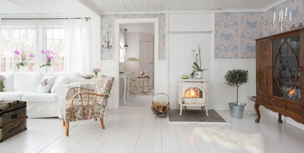 Romantic cottage interior achieved with simple colors and for Living estilo romantico