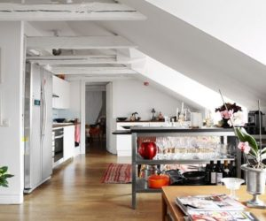 Loft Stockholm Interior Design Featuring White Painted Beams Nice Design