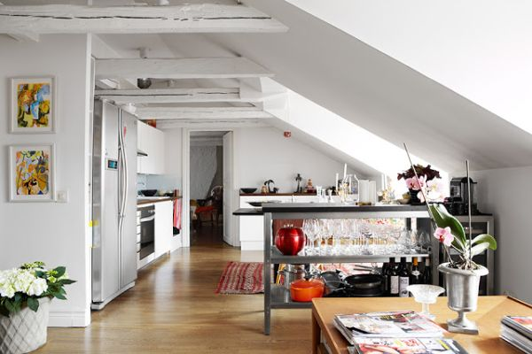 Loft Stockholm Interior Design Featuring White Painted Beams