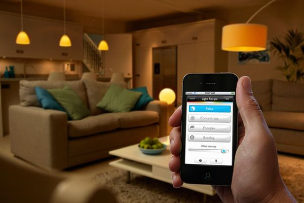 Offered by Phillips, Hue is a personalized wireless lighting system. It  lets you control  Control your home from your mobile phone  Tablet Home  control