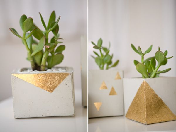 18 gold leafed diy projects that sparkle with elegance gold leaf planters gumiabroncs Image collections