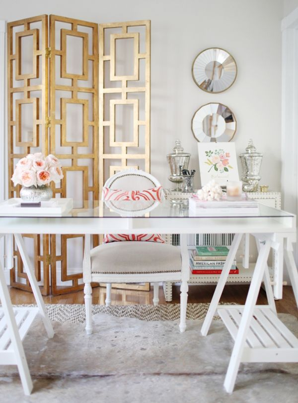 Nice 30 Best Glam, Girly, Feminine Workspace Design Ideas