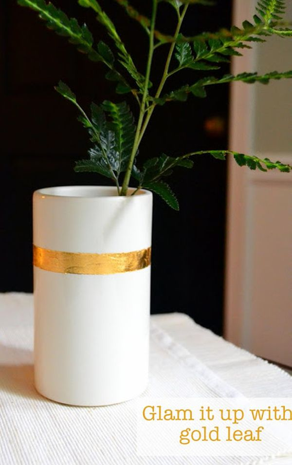 18 gold leafed diy projects that sparkle with elegance strip planter leaf gumiabroncs Image collections