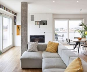 A modern apartment decorated with concrete and light wood