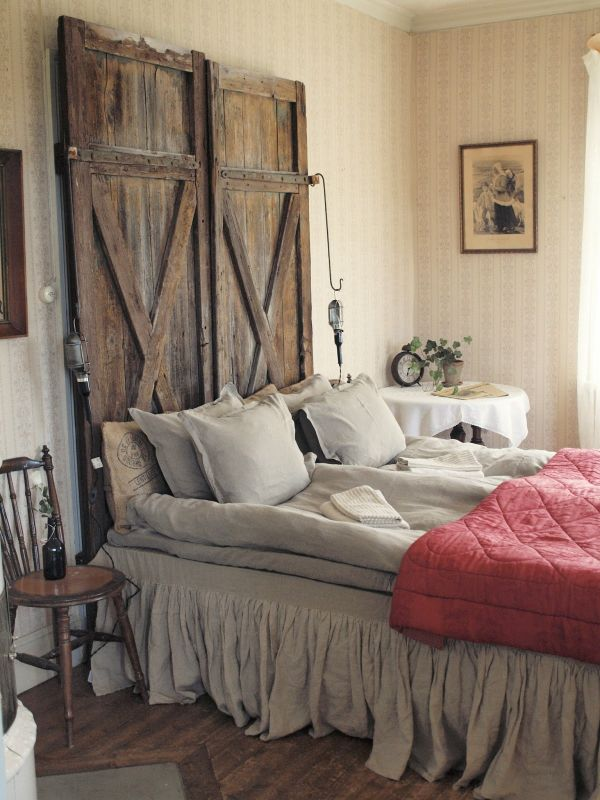 Old doors turned into headboards.