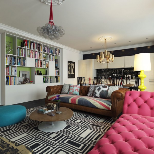 Colorful Apartment Boosting An Unconventional Mix Of Styles