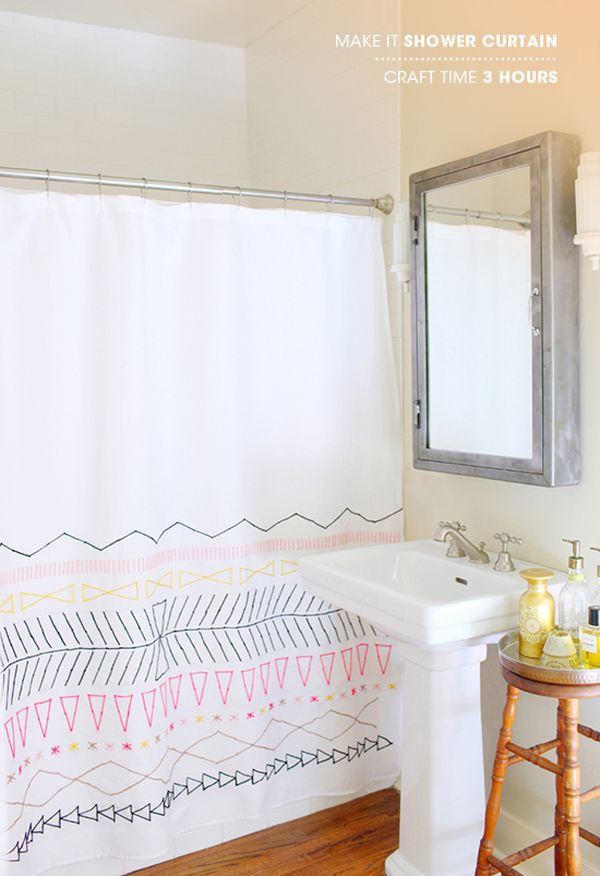 How To Change The Decor Of Your Bathroom With A Simple Diy Shower Curtain 15 Ideas,Home Furniture Dining Table Designs