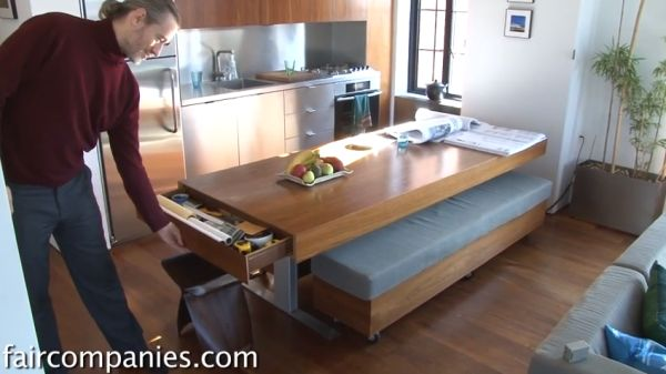 Hidden Storage compact apartment with folding walls and tons of hidden storage