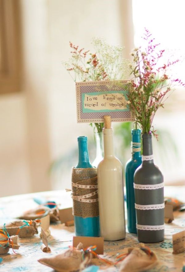 24 stunning wine bottle centerpieces you never thought Wine bottle wedding centerpieces
