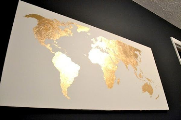 18 gold leafed diy projects that sparkle with elegance world map gold leafed sciox Gallery