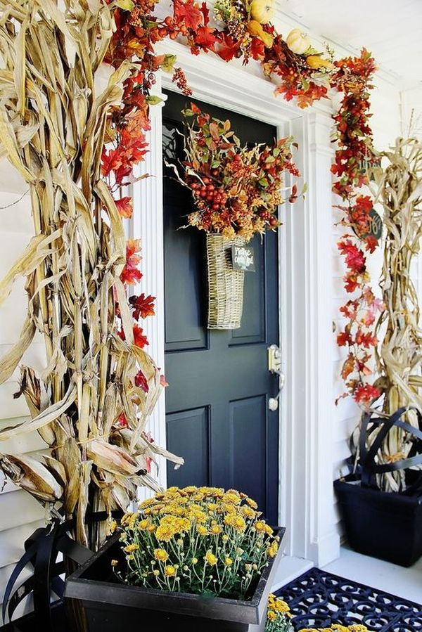 Get Into The Seasonal Spirit U2013 15 Fall Front Door Décor Ideas