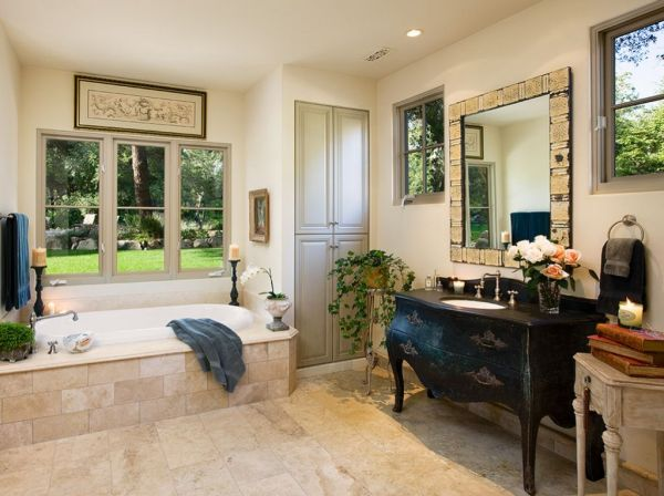 Old world influenced bathroom vanities for Old world classic homes
