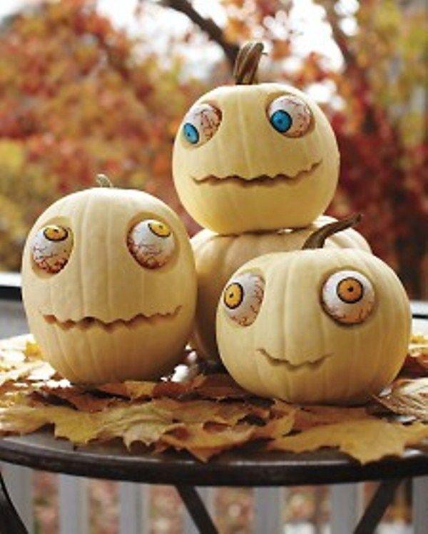 4 crazy eyed pumpkins - Scary Halloween Crafts