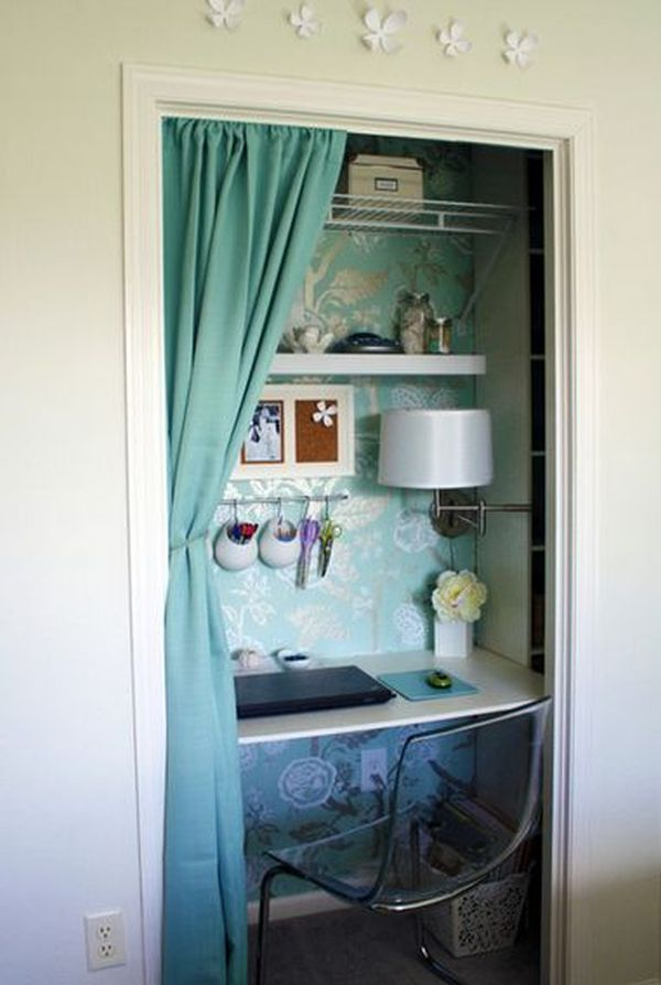 Turn a closet or cupboard into a workstation for Transform small closet space