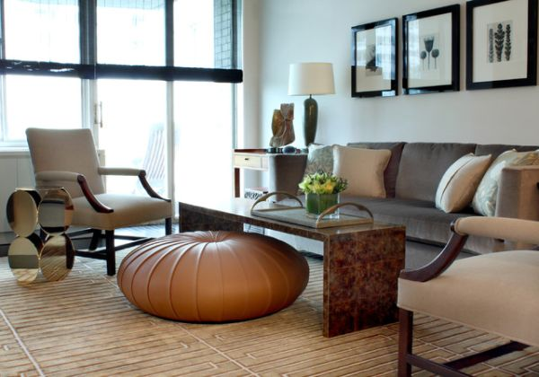 Beautiful Shapely Ottomans That Jazz Up The Living Room Interesting Living Rooms With Ottomans