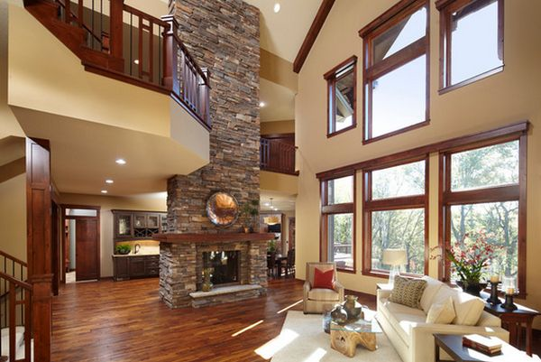 100 fireplace design ideas for a warm home during winter for Modern living room high ceiling