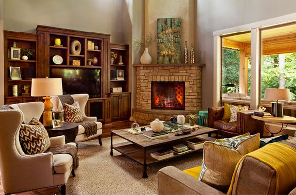 100 fireplace design ideas for a warm home during winter for Living room fireplace designs
