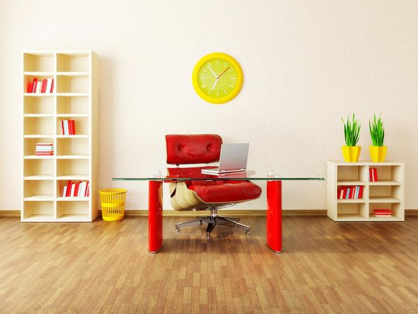 This red and yellow office example is fun and fiery.