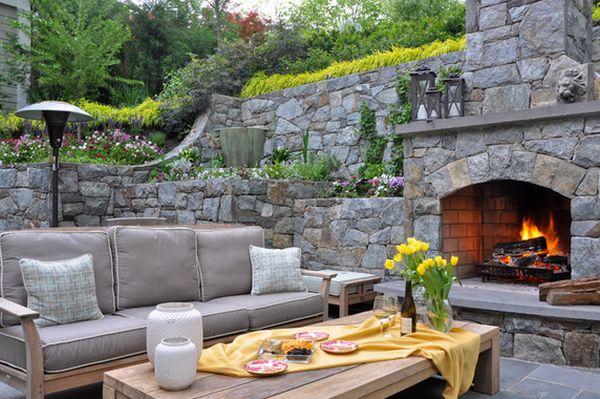 Faux rock wall landscaping ideas pool