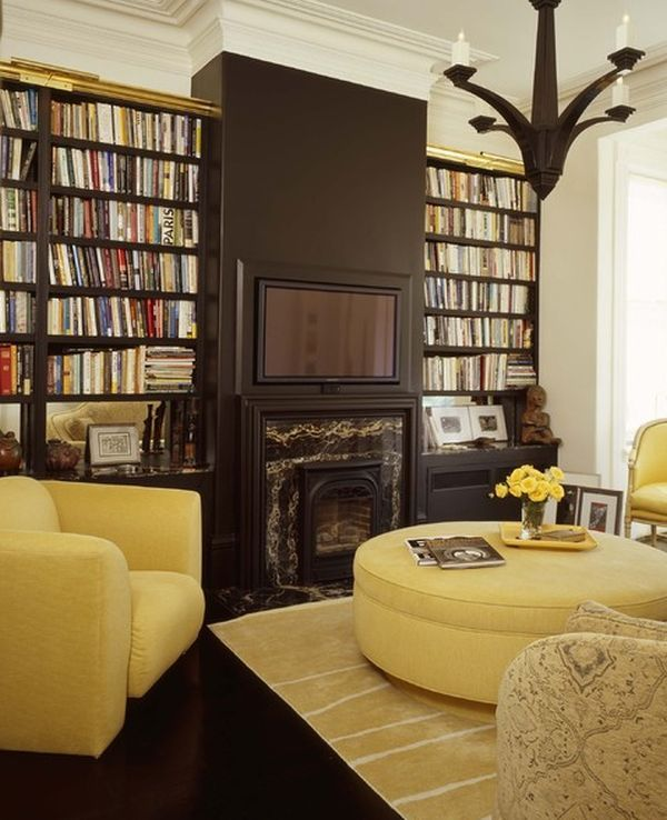 Mustard and chocolate covered rooms ideas inspiration for Mustard living room ideas