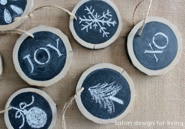15 creative chalkboard christmas craft ideas for Log craft ideas
