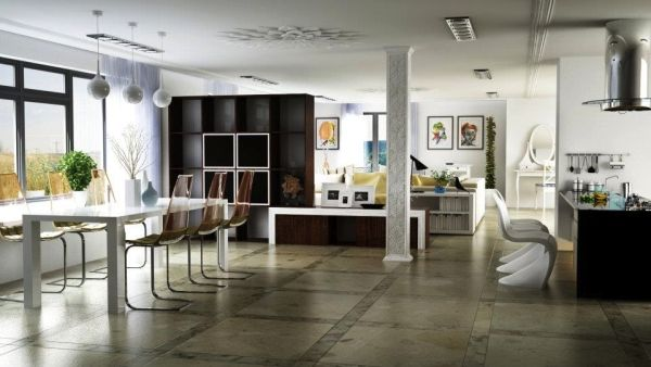 25 open concept modern floor plans for Open space interior design