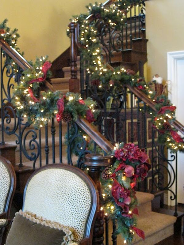 decorate the stairs for christmas 30 beautiful ideas - Christmas Decorations For Stair Rail