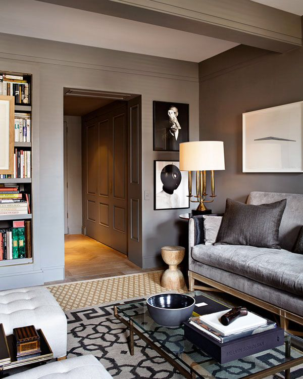Details add to the elegance of a classically styled grey living room